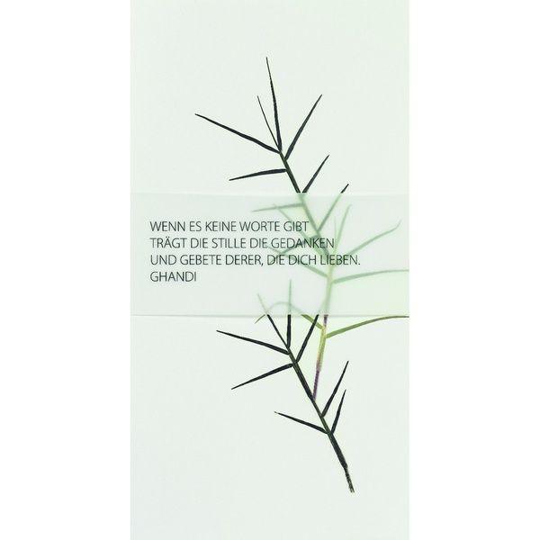 """Weiße Trauerkarte """"Wenn es keine Worte gibt trägt die Stille die Gedanken..."""""""