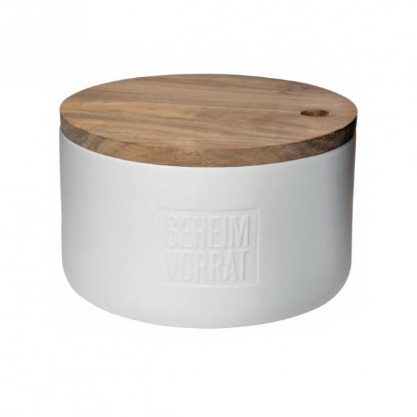 Brottopf Geheimvorrat Porzellandose mit Holzdeckel