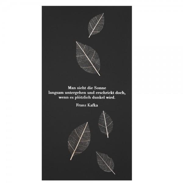 """Natur Trauerkarte """"Man sieht die Sonne..."""", Blätter"""