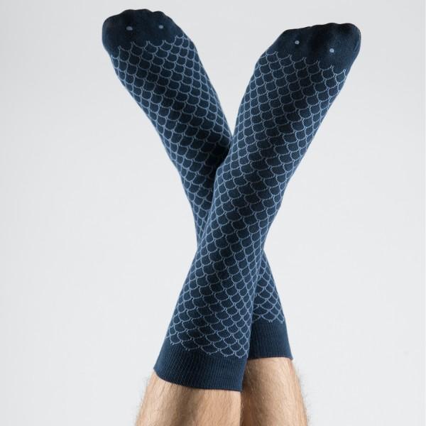 Fish Socks Navy Blue