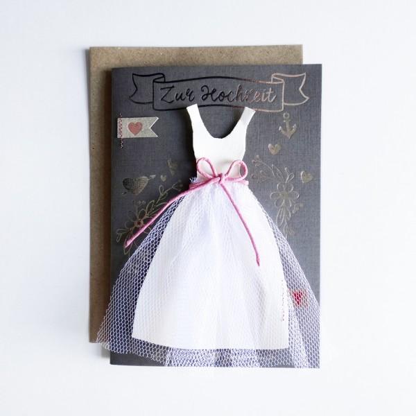 """Hochzeitskleid Karte """"Kreideschrift"""""""