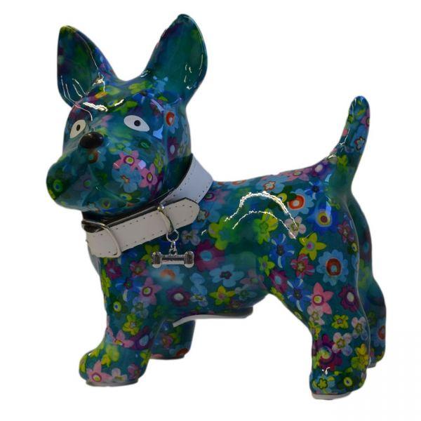 """Hund """"Boomer"""" M - Blau mit Blumen"""