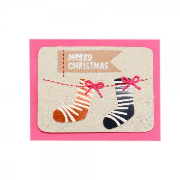 "Mini Kärtchen ""Merry Christmas"", Stiefel"