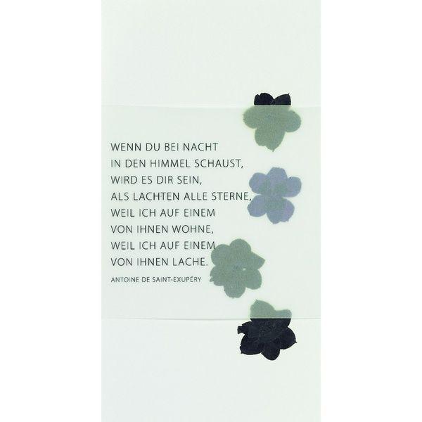"""Weiße Trauerkarte """"Wenn Du bei Nacht in den Himmel schaust,..."""