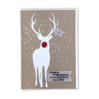 """X-mas Pompom Karte """"Fröhliche Weihnachten. Hirsch"""""""