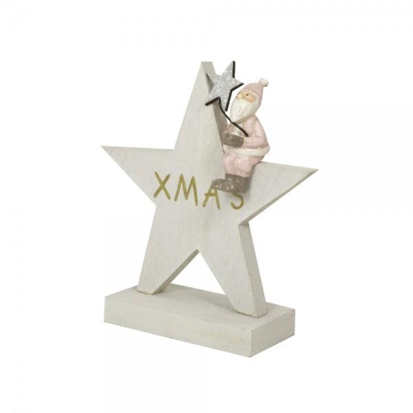 Stern mit Weihnachtsmann, weiss