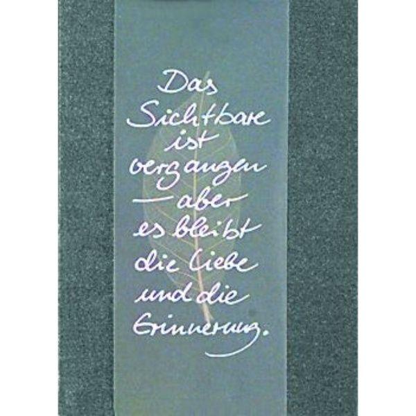 """Transparent Trauerkarte - """"Das Sichtbare..."""""""