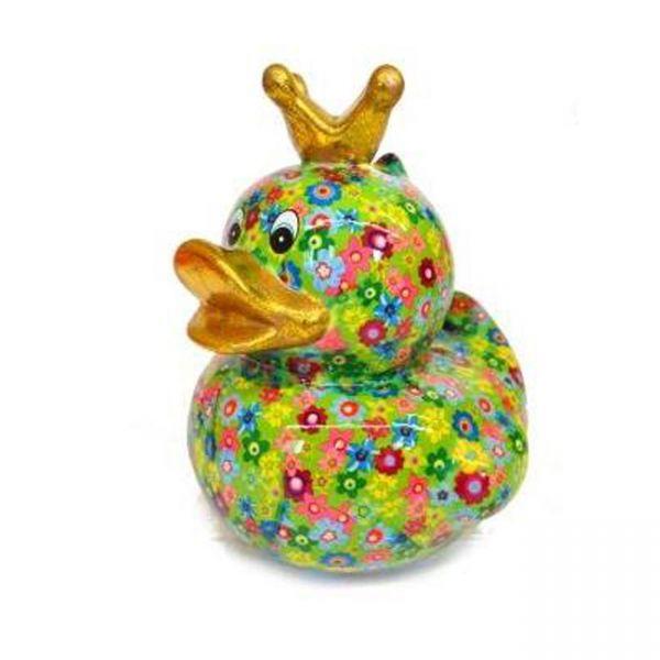 Big Ducky L - Grün mit Blumen