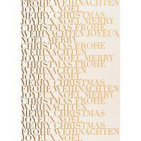 """Geschenke des Himmels - Postkarte """"Frohe Weihnachten, weiß/gold"""""""