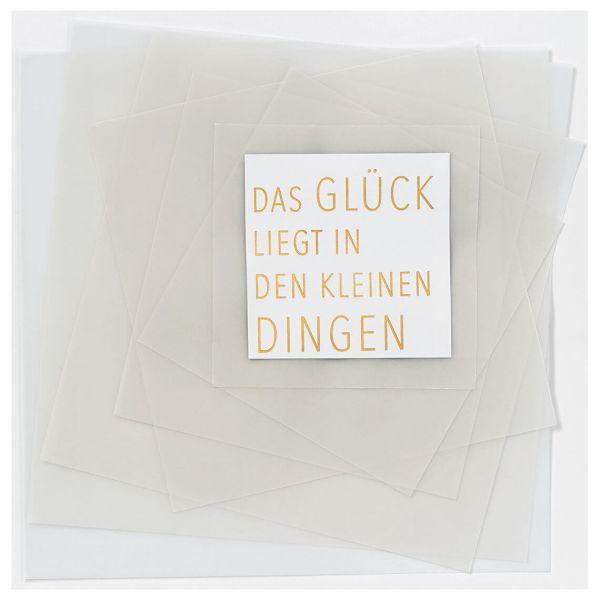 """Transparente Poesiekarte """"Das Glück liegt"""""""