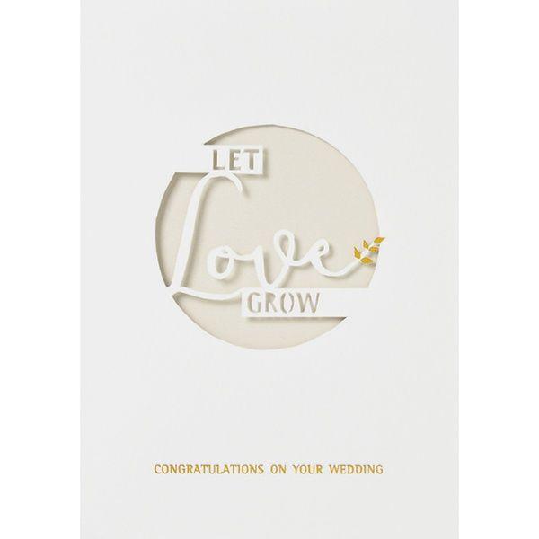 """Hochzeitskarte """"Let love grow"""", Gold"""