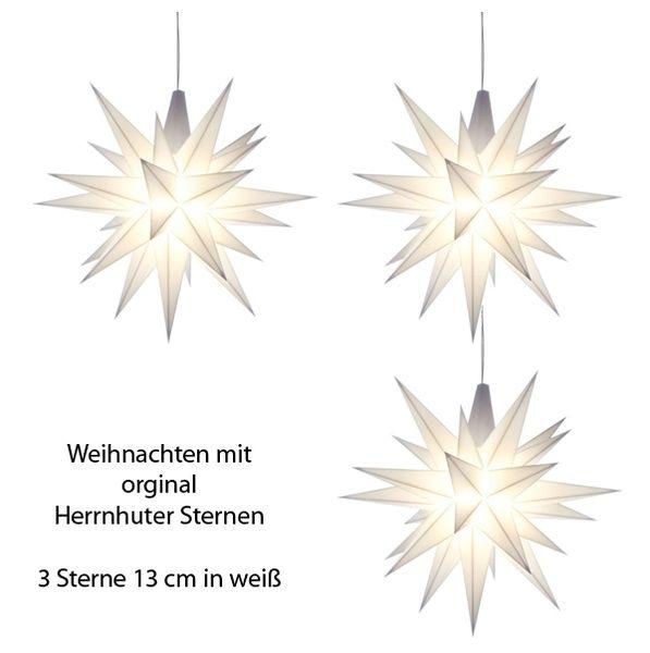 Herrnhuter Stern für Innen, Weiß 13 cm im 3er Set
