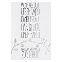 """Weiße Blütenkarte """"Wenn aus Liebe Leben wird"""""""
