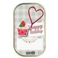 """Kuchen mit Wunderkerze """"Happy Birthday"""" Erdbeereis mit Kleeblatt"""