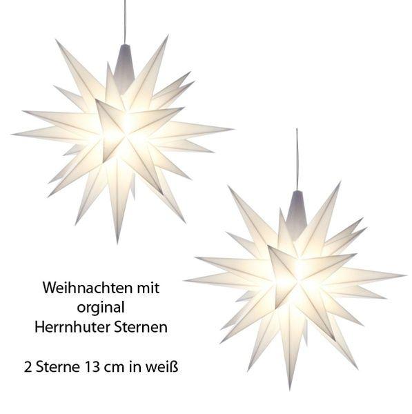 Weihnachtsstern für Innen, Weiß 13 cm im 2er Set