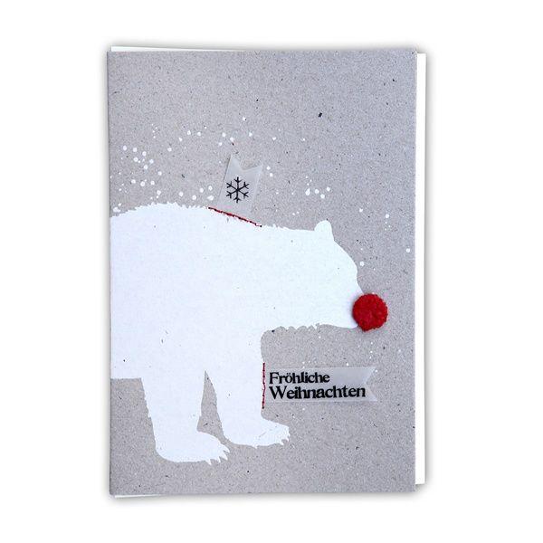"""X-mas Pompom Karte """"Fröhliche Weihnachten. Eisbär"""""""