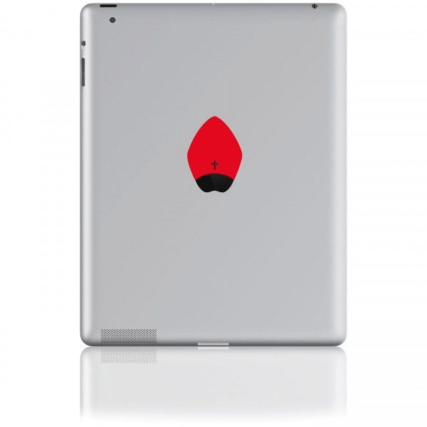 Sticker für Tablets The Pope rot