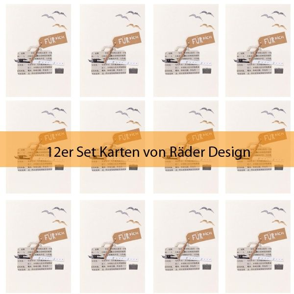 """Zeitungscollagen Karte """"Koffer"""" 12er Set"""