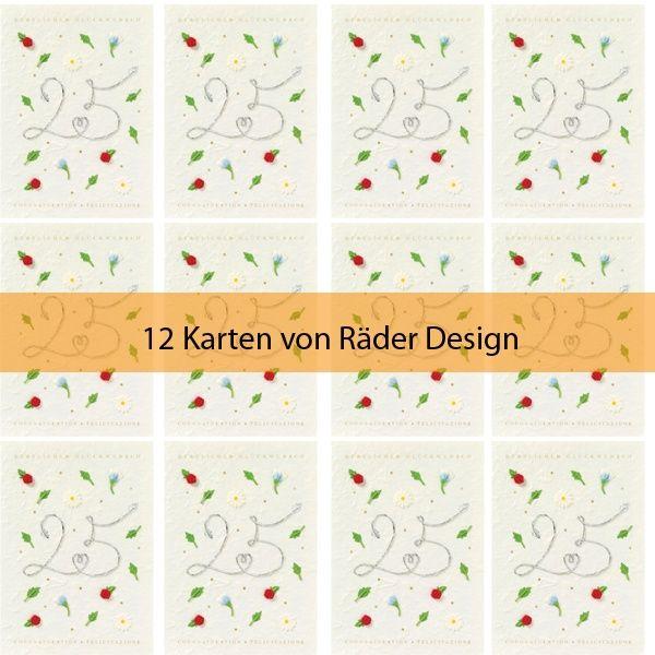 "Jubiläumskarte ""25 - Herzlichen Glückwunsch"" 12er Set"
