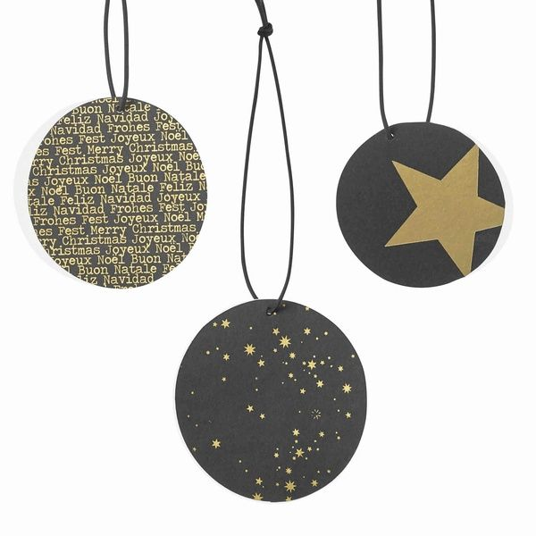 Black & Gold Geschenkanhänger Set