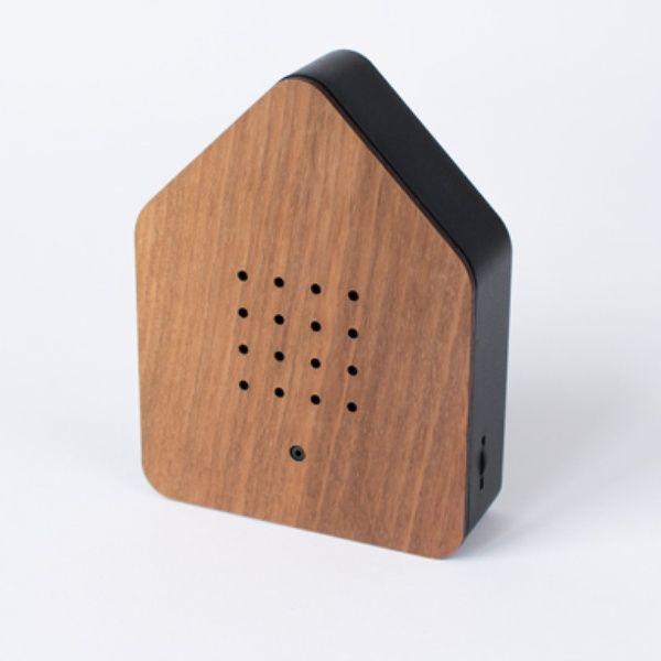 Zwitscherbox Holz -nuss / schwarz-