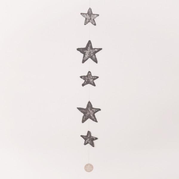 Papiersternkette, Grau/Silber