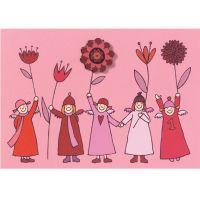 Himmlische Schwestern - Pinkarte mit Blume