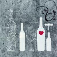 """Vino Serviette """"Flasche + Glas"""""""