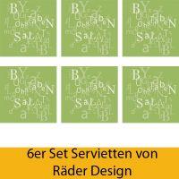 """Serviettenkollektion """"Buchstabensalat"""" 6er Set"""