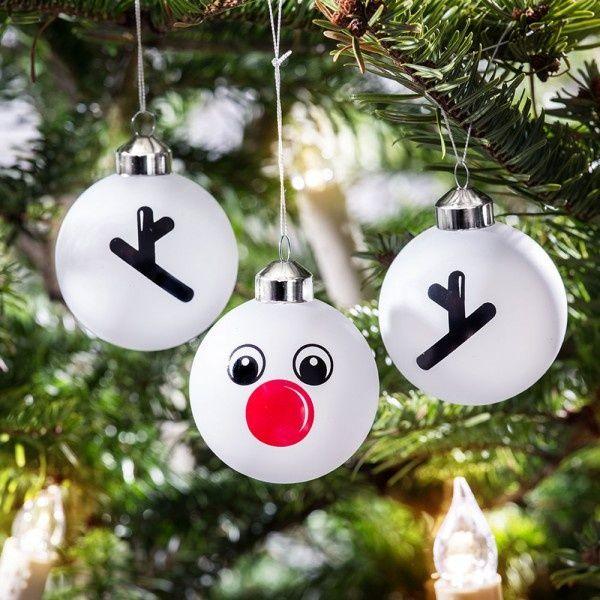 Günstige Christbaumkugeln.Set Aus 3 Christbaumkugeln Rentier Rudolph