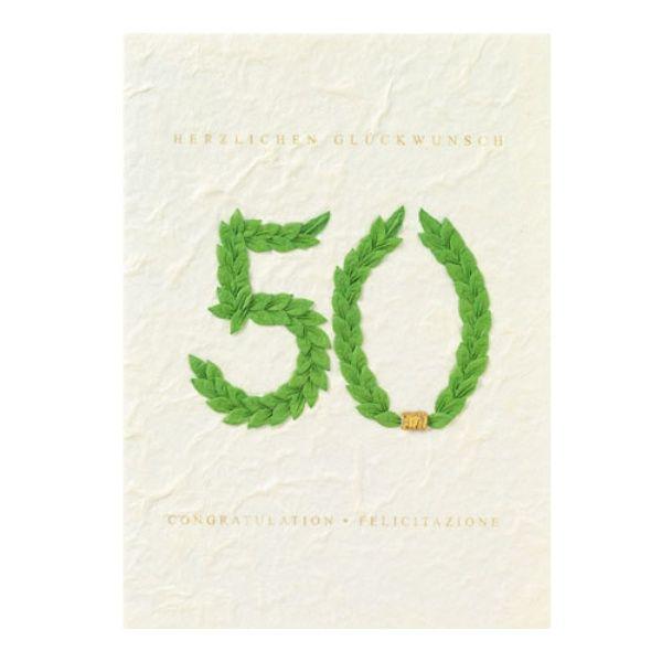 """Jubiläumskarte """"50 - Herzlichen Glückwunsch"""" mit Kranz grün"""