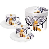 Espressotassen mit Untertasse Winter Fox