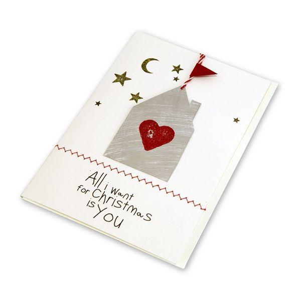 "X-mas Metallkarte ""Haus - All I want for Christmas"""