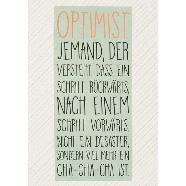 "Motivations Postkarte ""Optimist"""