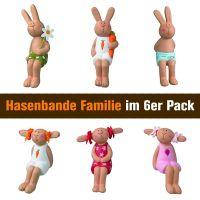 Hasenbande - Mini Kantenhocker - Familie - 6er-Set