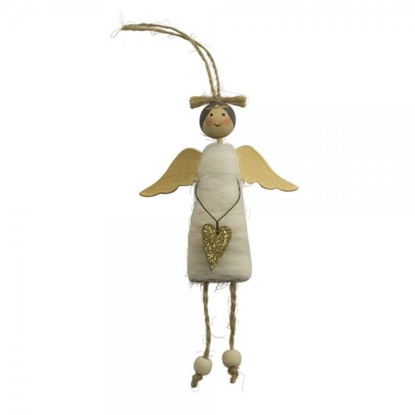 Engel-Anhänger mit Wollkleid, weiß
