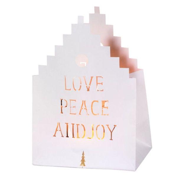 "Weihnachts Lichthauskarte ""Love Peace and Joy"""