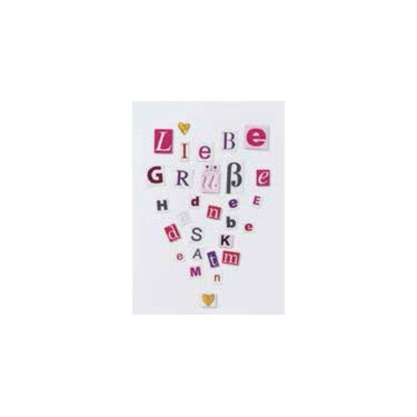 """Buchstaben Collagen Karte """"Liebe Grüße"""""""