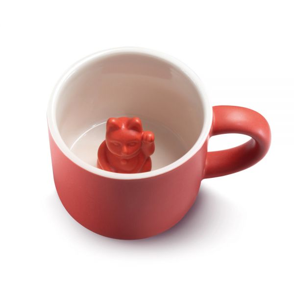 Tier Tasse Maneki Neko - rot