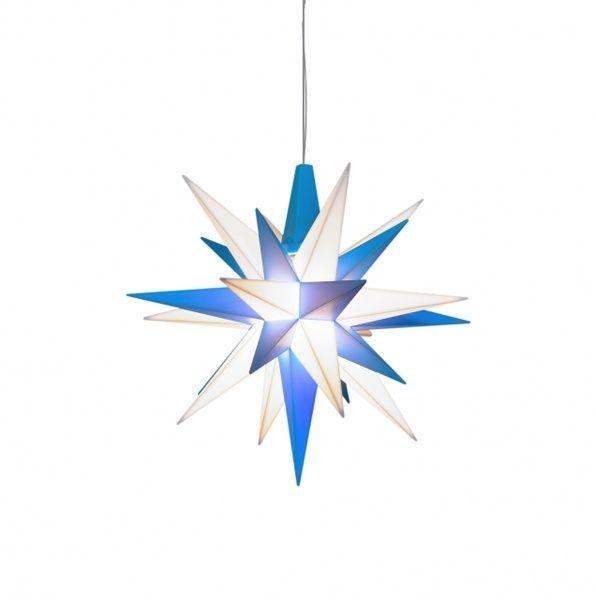 Herrnhuter Stern für Innen, Blau/Weiss 13 cm