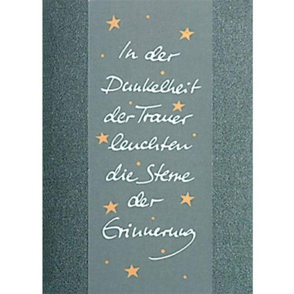"""Transparent Trauer Karte """"In der Dunkelheit ..."""""""