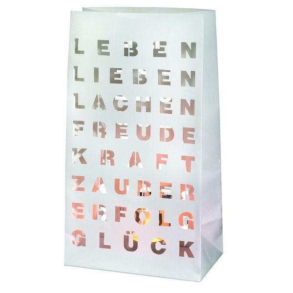 "Design Lichttüte - ""Leben, Lieben, Lachen"" 2er Set"