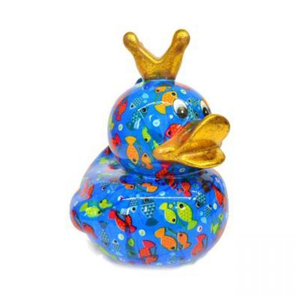 Big Ducky L - Blau mit Fischen