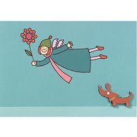 Himmlische Schwestern - Pinkarte mit Hund