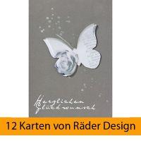 """Schmetterling Karte """"Herzlichen Glückwunsch"""", Grau 12er Set"""
