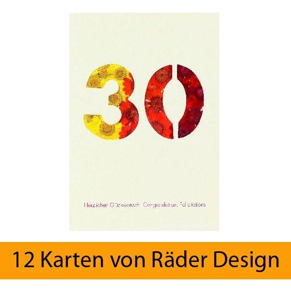 """Blumenzahlenkarte """"30 - Herzlichen Glückwunsch"""" 12er Set"""
