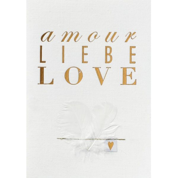 """Hochzeitsstoffkarte """"Amour, Liebe, Love"""""""