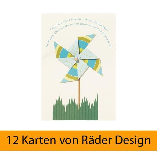 """Windrad Karte """"Gegen den Wind..."""" 12er Set"""