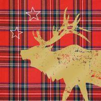 """Serviette """"Tartan Deer"""" (rot)"""