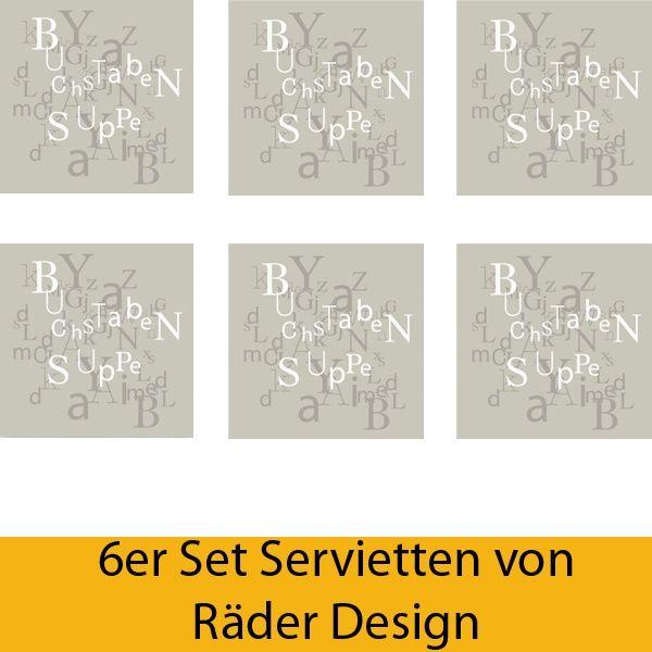 "Serviettenkollektion ""Buchstabensuppe"" 6er Set"